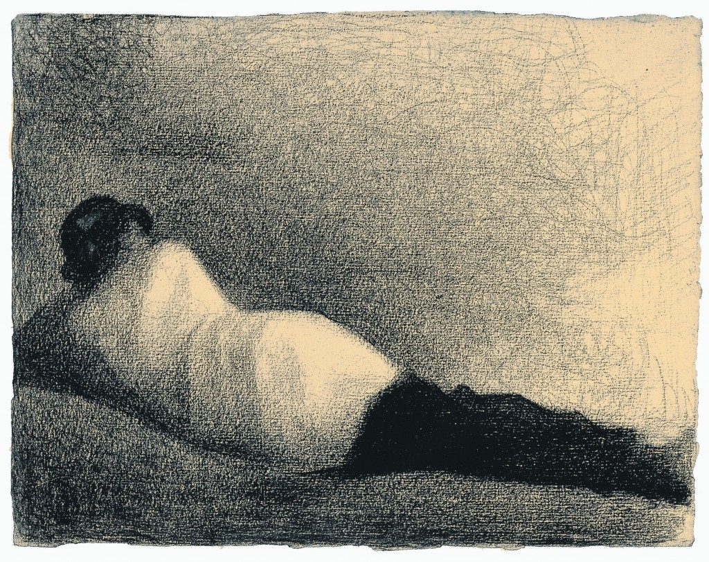 Study for Bathers at Asnieres by Georges Seurat, drawing showing soft edges