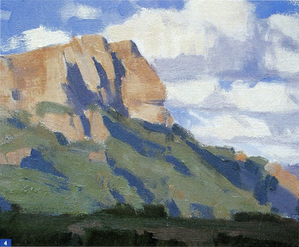 How to Paint En Plein Air: Beginner Landscape Oil-Painting Techniques, Demo 1, Step 4 | Excerpted from Plein Air Painting in Oil by Frank Serrano, Walter Foster Publishing, Laguna Hills, California