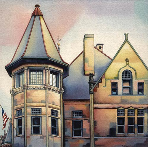 Ann DeLaurentis,Hamilton West Side (watercolor on paper, 12x12)