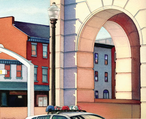 Ann DeLaurentis, Station Archway (watercolor on paper, 11x13)