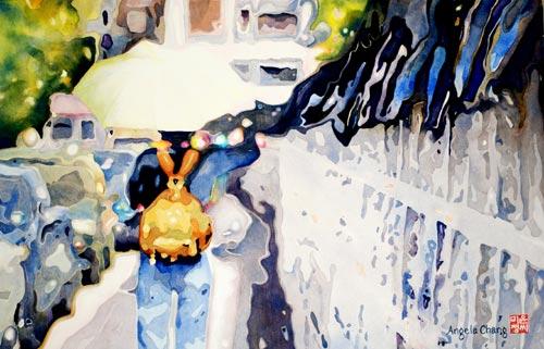 Angela Chang, Sunbrella II (watercolor on paper, 18x28)