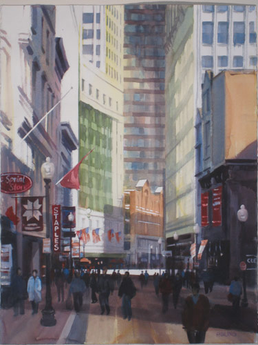 Robert Hsiung, Downtown Crossing—4, Boston (watercolor on paper, 26x34)