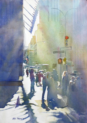 Kris Parins, I Saw the Light at 44th and Broadway (watercolor on paper, 14x21)