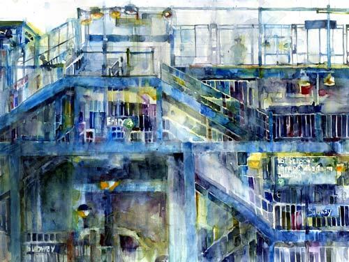 Dorrie Rifkin, Da Subway—168th Street (watercolor on paper)
