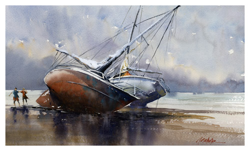 Thomas W. Schaller, After the Storm—Venice Beach (watercolor on paper, 14x24)
