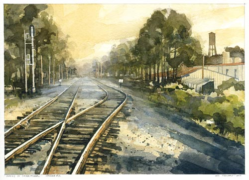 Iain Stewart, Tracks No. 2 (watercolor on paper, 9x13)