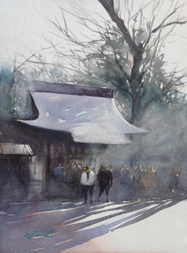Keiko Tanabe, Kitano Shrine, Kyoto II (watercolor on paper)