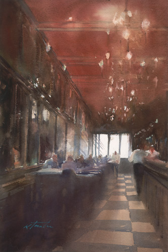 Keiko Tanabe, Lisbon Cafe VI (watercolor on paper)