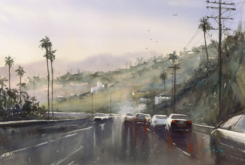 Keiko Tanabe, Pacific Coast Highway III (watercolor on paper)