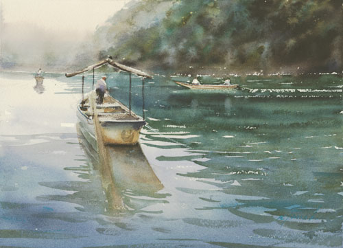 Keiko Tanabe, River Cruise, Kyoto, Japan VII (watercolor on paper)