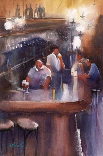 Keiko Tanabe, Sevilla Bar I (watercolor on paper)