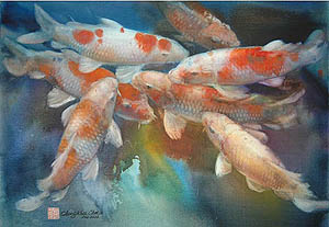 Koi 2003 No. 10 (22x30) by Cheng-Khee Chee | watercolor painting