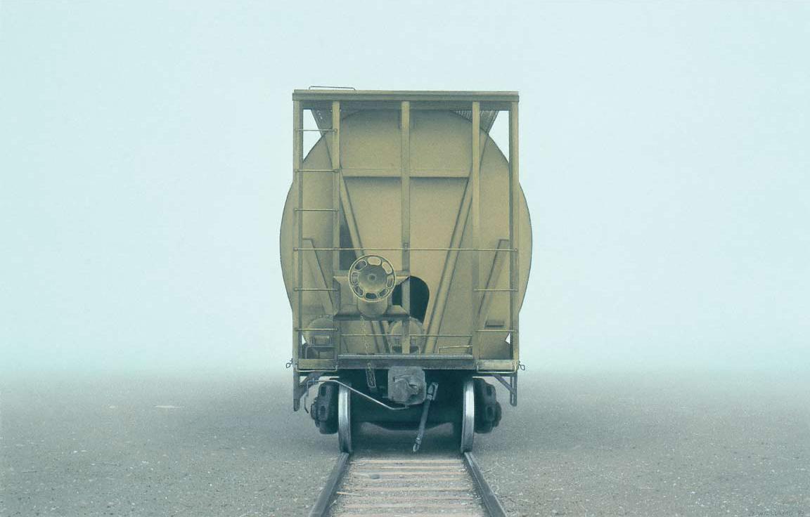 Don Williams, Hopper Car in Fog (22x33)