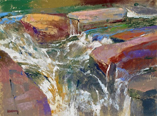 a water cascade   water painting