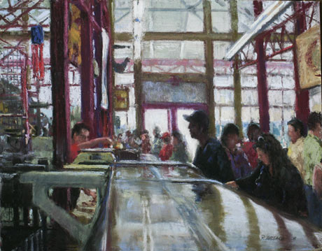 Ray Hassard, Findlay Market, Saturday Morning (14x18)