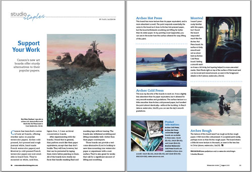 Watercolor Artist August 2010 issue article on Canson's watercolor art boards, by Paul Jackson