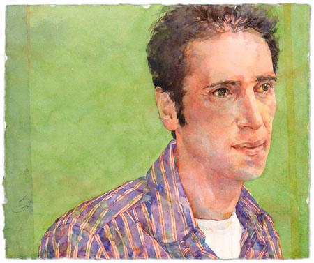 Susan Montague, Italian Man (watercolor on paper)