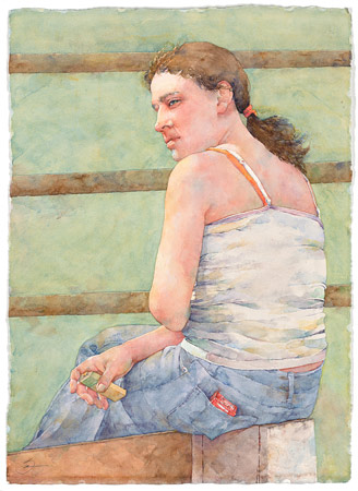 Susan Montague, Rodeo Matinee (watercolor on paper)