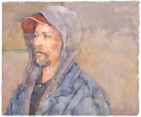 Susan Montague, Tough Time (watercolor on paper)