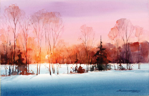 Paint a sunset in 10 simple steps a watercolor demo for Watercolor scenes beginners