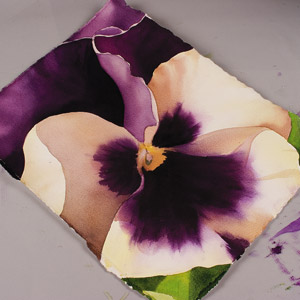 Birgit O'Connor, watercolor flower painting, Pansy