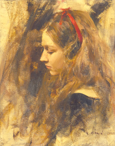 Portrait of Kristy, oil painting by Richard Schmid