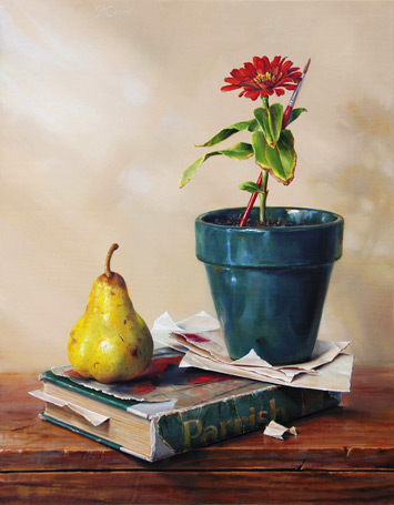 free oil still life painting demonstration by Pam Carroll, 1