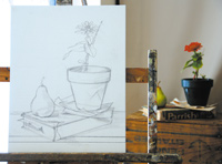 free oil still life painting demonstration by Pam Carroll, composition