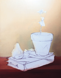free oil still life painting demonstration by Pam Carroll, sketch and gesso