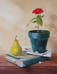 free oil still life painting demonstration by Pam Carroll, color