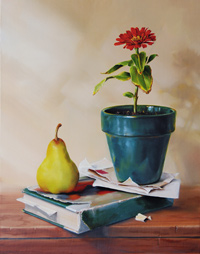 free oil still life painting demonstration by Pam Carroll, glazing and highlights