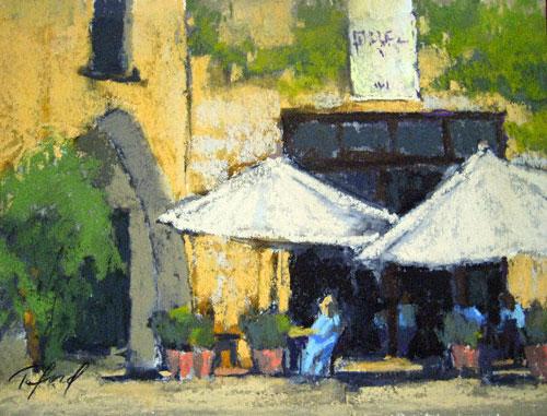 Café Alfresco (pastel, 9x12) by Terri Ford