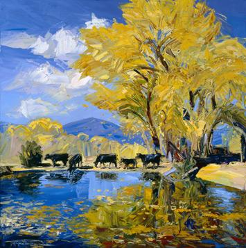 Leaves Falling Fast (oil, 44x44) by Louisa McElwain