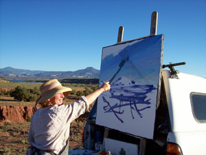 painting a landscape on a large canvas