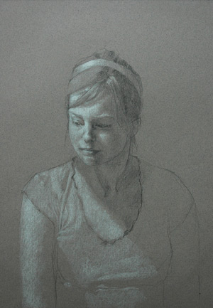 Portrait Study (graphite and white chalk on toned paper) by Lauren Tilden