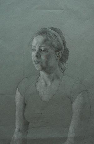 Portrait of Cristi Tilden (graphite and white chalk on toned paper) by Lauren Tilden