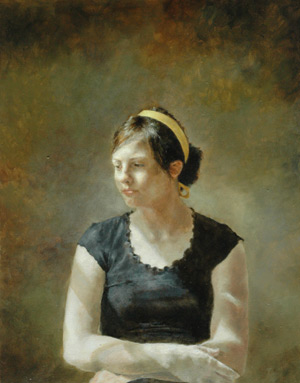 Girl With the Yellow Ribbon (oil, 20x16) by Lauren Tilden