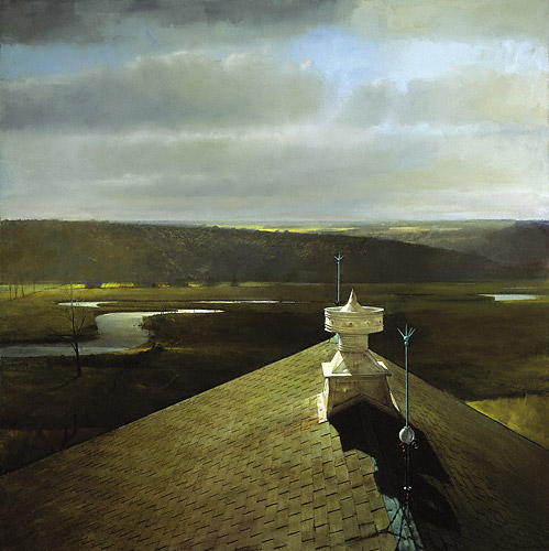 Ventilator on Darlington's Barn (oil, 57 1/2x57 1/2) by Randall Exon