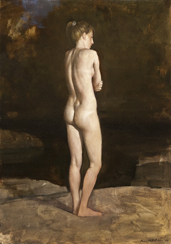 Bather (oil, 20x12) by Randall Exon