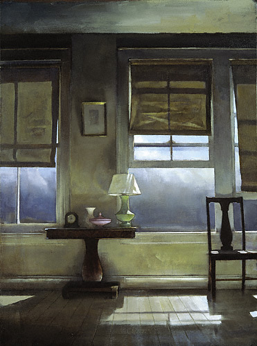 Bedroom Windows (oil, 24 1/2x18) by Randall Exon