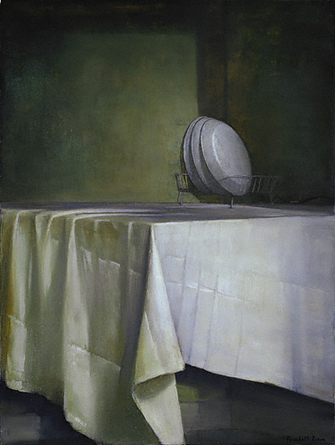 Dishes (oil, 24x18) by Randall Exon