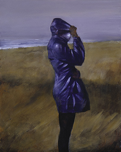 Windbreaker (oil, 20x16) by Randall Exon