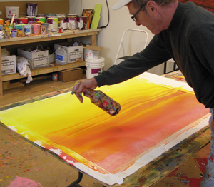 David Rothermel, acrylic painting demonstration 2, diluting paint