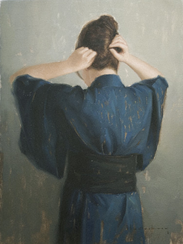 Hair Pin (oil, 24x18) by Aaron Westerberg