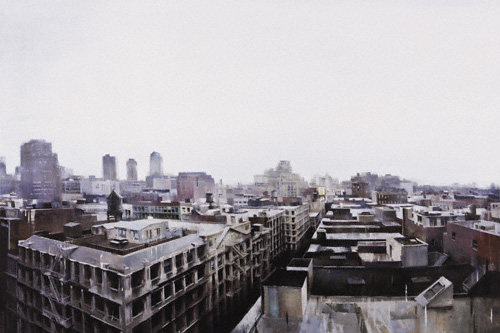 Soho Rooftops (oil, 56x84) by Kim Cogan