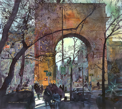 Washington Square (watercolor, 33x37) by John Salminen