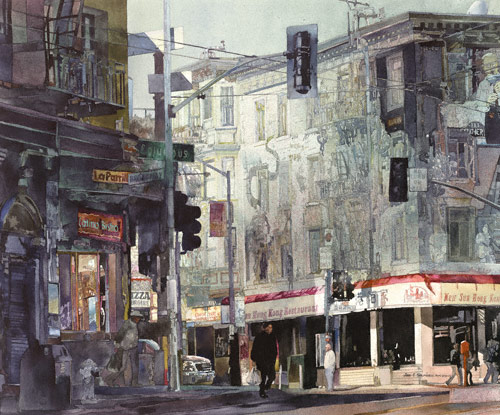 North Beach, San Francisco (watercolor, 32x37) by John Salminen