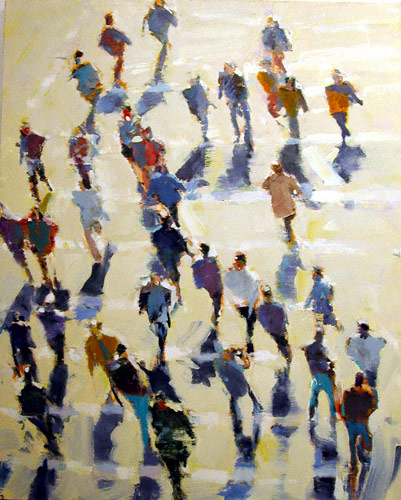 Summer Crowd (oil, 70x60) by David Kapp