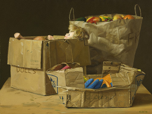 Dolls, Gloves and Fruit (oil, 16x22)