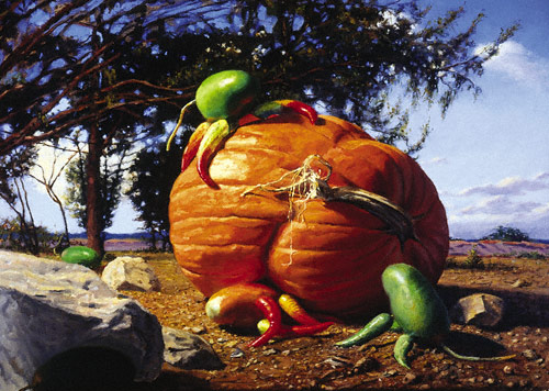 Pumpkin Battle (oil, 20x28)
